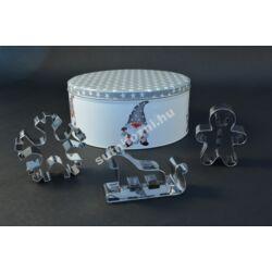 Karácsonyi linzer kiszúrók fém dobozzal