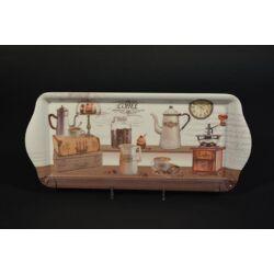 Kávé mintás műanyag tálca 33x14 cm