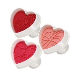 Szív rugós kiszúró sütipecséttel 3 db kettő az egyben