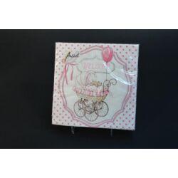 Babaszületésre keresztelőre rózsaszín szalvéta 33x33 20db