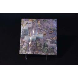 Karácsonyi papírszalvéta kék gyertyával 33x33 cm