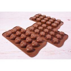 Szilikon bonbon forma csoki forma vegyes mintával 3 db forma
