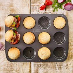 Mini hamburger zsemle tapadásmentes perforált fém sütőforma 12 adagos