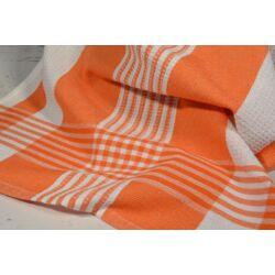 fehér alapon narancs csíkozással konyharuga
