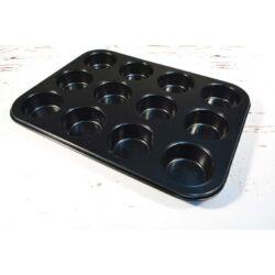 Muffin tapadásmentes fém sütőforma 12 adagos