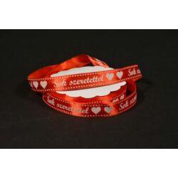 Sok szeretettel feliratos szatén szalag 15mmx23m piros