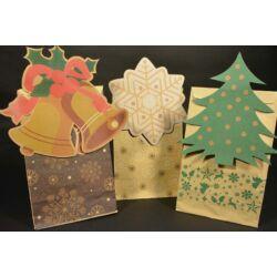 Karácsonyi papírtasak talpas oldalredős Karácsonyi mintával