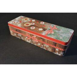 Karácsonyi fém süteményes doboz 30x10 cm