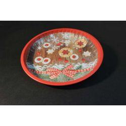 Karácsonyi kerek fém tálca tányér