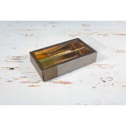 Bonbon doboz barna fedeles 2 soros osztott  letolható tetővel