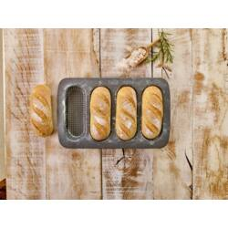 Mini Bagett sütőforma 4 adagos fém tapadásmentes  perforált sütőforma