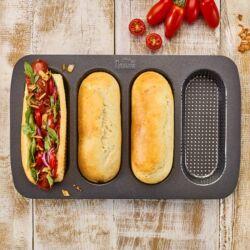 Hot Dog kifli sütőforma 4 adagos tapadás mentes fém sütőforma