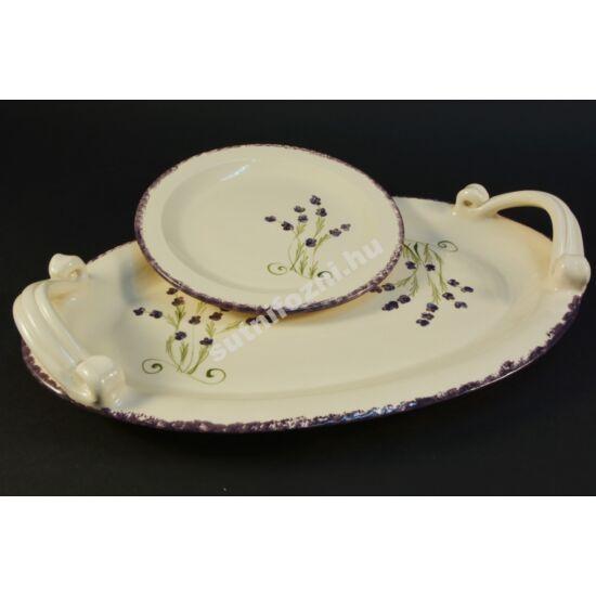 Levendula mintás ovál tál + tányér szett