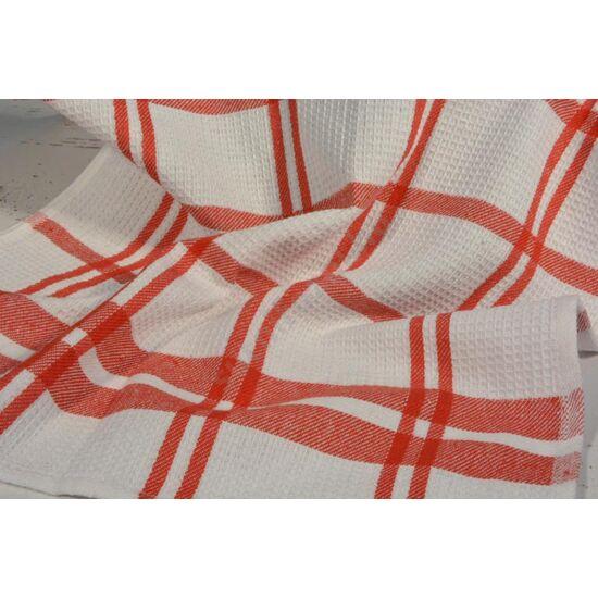fehér alapon piros csíkozással konyharuga