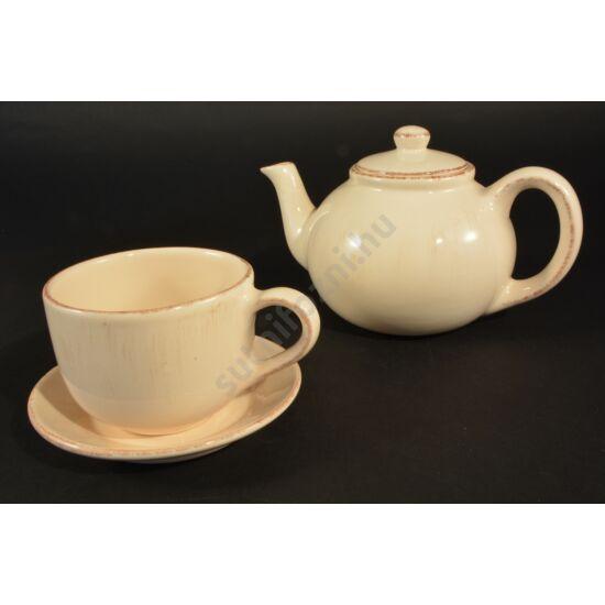 Bézs antikolt teás készlet